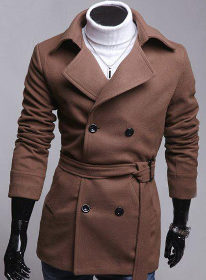 Slimming Turndown Collar Fashion Double Breasted Long Sleeve Men's Woolen Blend Coat(with Belt) - COFFEE XL