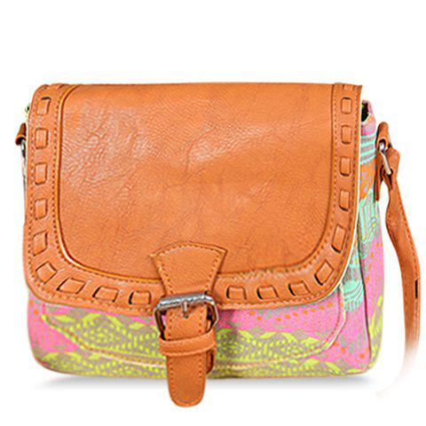 Fashionable Printed and Stitching Design Crossbody Bag For Women - PINK