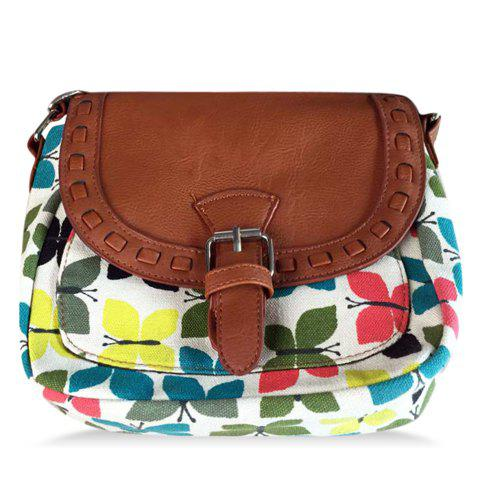 Fashionable Printed and Stitching Design Crossbody Bag For Women - GREEN