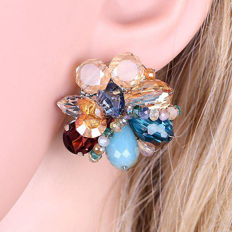 Pair of Flower Faux Crystal Earrings - COLORMIX