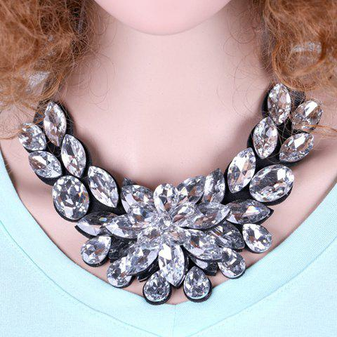 Delicate Luxury Rhinestone Flower Lace Up Sweater Chain Necklace For Women - WHITE