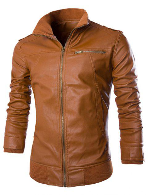 PU Leather Stand Collar Horizontal Zipper Epaulet Rib Spliced Long Sleeves Men's Slimming Jacket - BROWN L