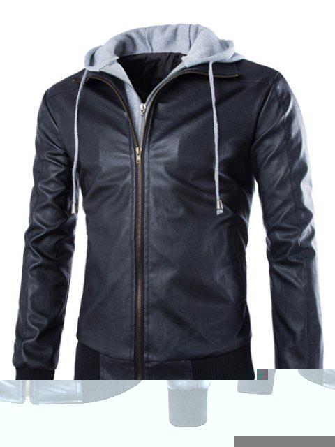 Faux Twinset Color Block Rib Spliced Hooded Fashion Slimming Long Sleeves Men's PU Leather Coat - BLACK L