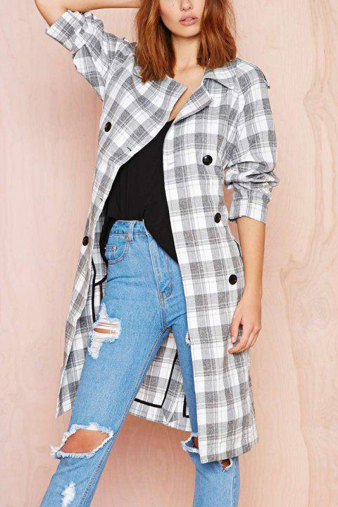 Fashionable Turn-Down Collar Plaid Double-Breasted Long Sleeve Trench Coat For Women - GREY/WHITE L