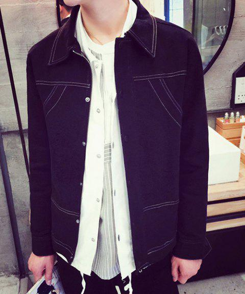 Slimming Shirt Collar Fashion Sutures Design Solid Color Long Sleeve Men's Denim Jacket - BLACK M