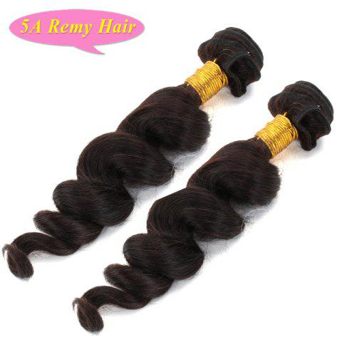 Fashion Loose Wave Natural Black 2 Pieces/Lot 5A Women's Indian Remy Hair Weave - BLACK 14INCH*14INCH