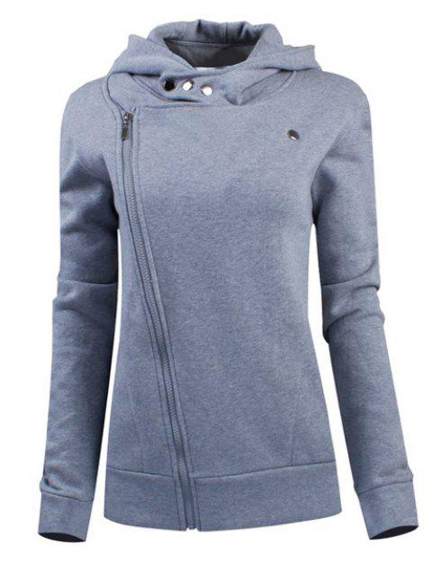 Stylish Women's Solid Color Long Sleeve Hoodie - GRAY M