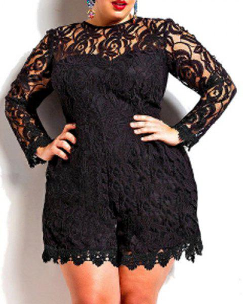 f5358654ed6 Stylish Round Neck Long Sleeve Plus Size Solid Color Lace Women s Romper -  BLACK 3XL