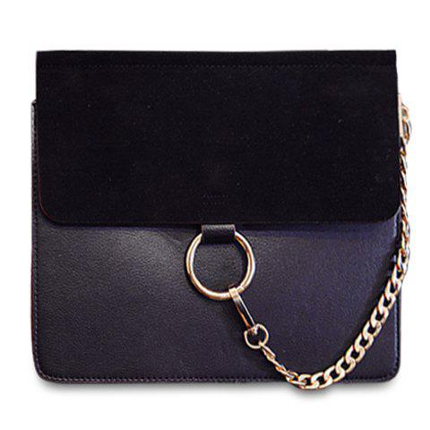 Simple Solid Color and Chain Design Crossbody Bag For Women - BLACK
