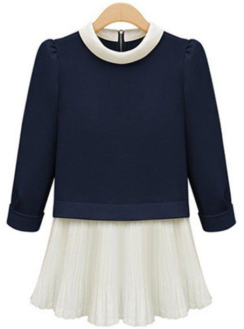 Elegant Women's Round Neck 3/4 Sleeve Pleated Blouse - CADETBLUE 5XL
