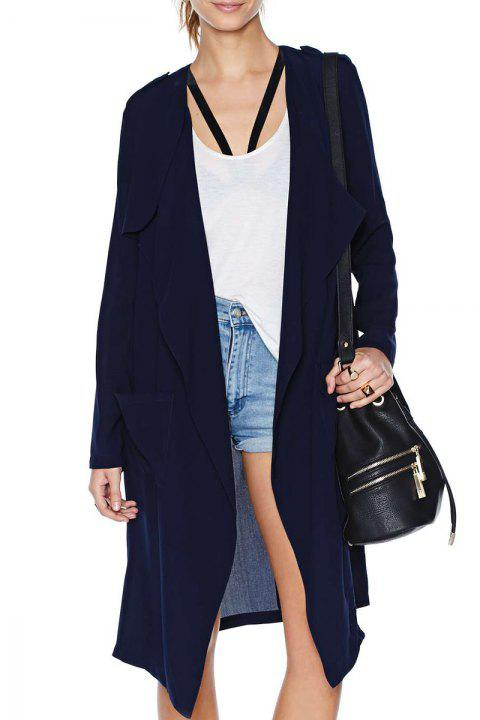 Fashionable Collarless Solid Color Pockets Long Sleeve Trench Coat For Women - DEEP BLUE XL