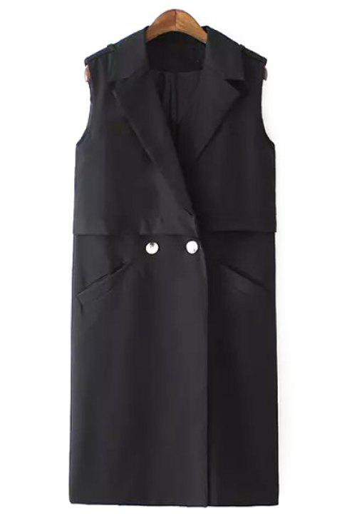 Fashionable Lapel Solid Color Two Buttons Sleeveless Trench Coat For Women - BLACK S