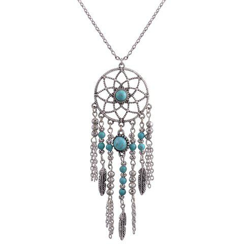 Tassel Pendant Hollow Out Sweater Chain - SILVER