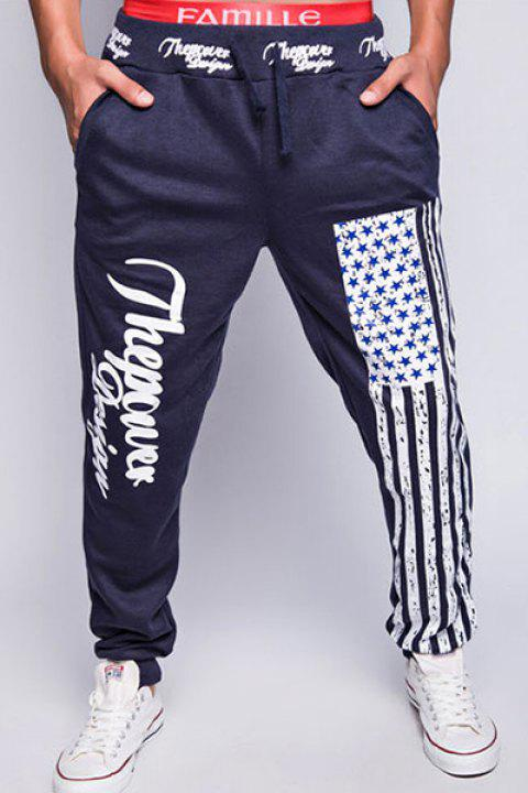Trendy Lace-Up Loose Fit American Flag Print Beam Feet Polyester Jogger Pants For Men - CADETBLUE 2XL