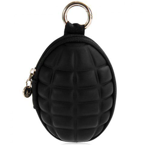 Creative Grenade Shaped Zippered Key Bag Coin Pouch - BLACK