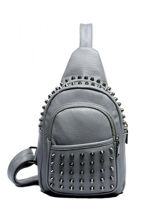 Fashion Solid Color and Rivets Design Women's Satchel - GRAY