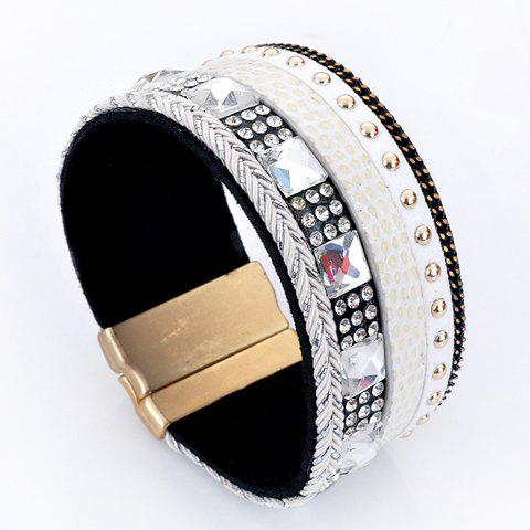 Faux Leather Rhinestone Decorated Bracelet - WHITE