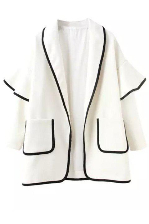 Stylish Turn-Down Collar Bell Sleeve Pocket Women's Trench Coat - WHITE S