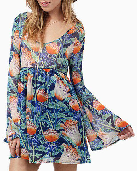 Sweet High Waist Colorful Printed Flare Sleeve Mini Dress For Women - COLORMIX XL