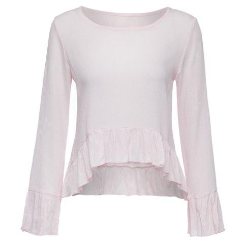 Chic Scoop Collar Flare Sleeve Pure Color Flounced Women's Blouse - LIGHT PINK S
