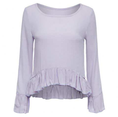 Chic Scoop Collar Flare Sleeve Pure Color Flounced Women's Blouse - LIGHT PURPLE S