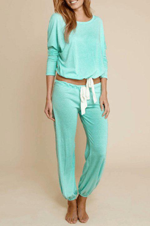 Casual Women's Scoop Neck Long Sleeve Top and Drawstring Pants Suit - GREEN M