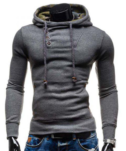 Elbow Patch Oblique Button Up Pullover Hoodie - GRAY L