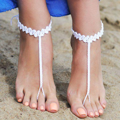 Pair of Stylish Chic Handmade Weaved Barefoot Sandals For Women - WHITE
