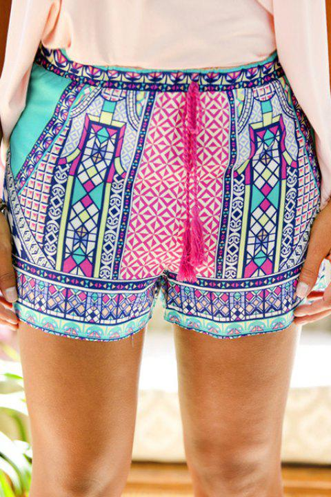 Ethnic Style Tie-Up Colorful Print Shorts For Women - COLORMIX S