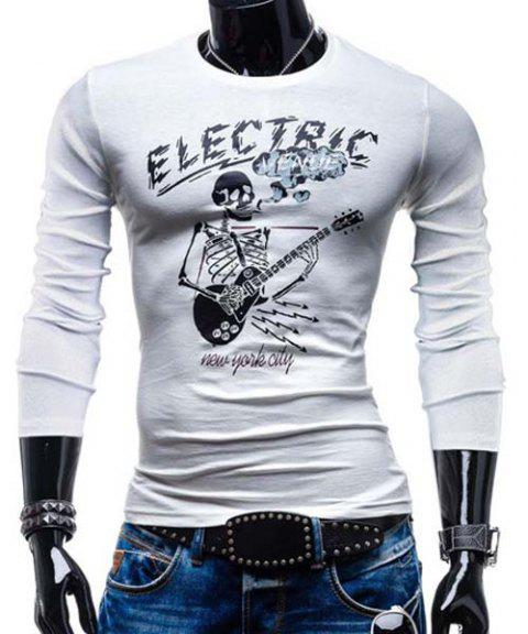 T-shirt col rond Minceur Trendy Skull Guitar Imprimer manches longues polyester Hommes - Blanc 2XL