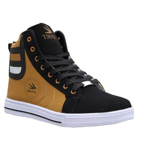 Color Block Leather High Top Sneakers - GOLDEN 42