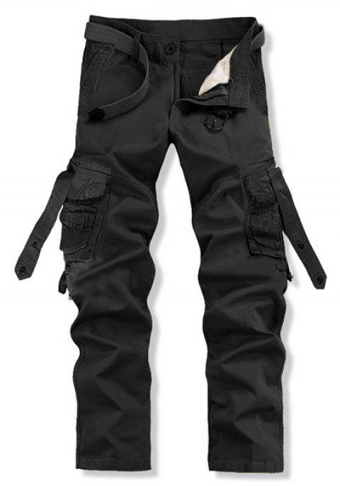 Stylish Loose Fit Solid Color Multi-Pocket Straight Leg Cotton Blend Cargo Pants For Men - BLACK 33