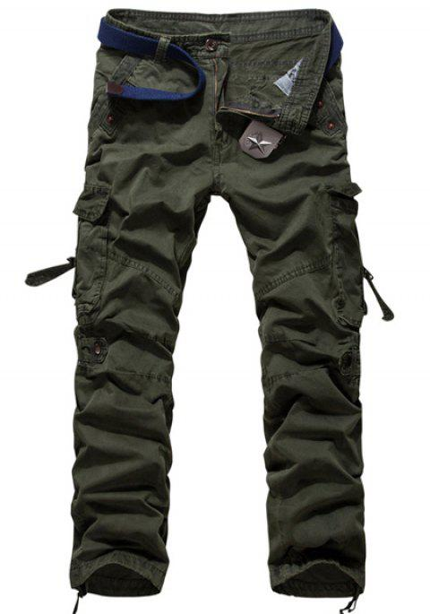 Fashion Loose Fit Multi-Pocket Solid Color Straight Leg Cotton Blend Cargo Pants For Men - ARMY GREEN 38
