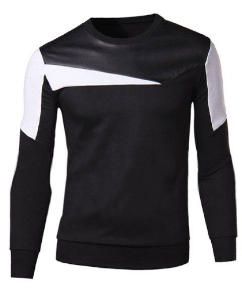Slimming Round Neck Fashion Color Block Fabric Splicing Long Sleeve Cotton Blend Men's Sweatshirt - BLACK 2XL
