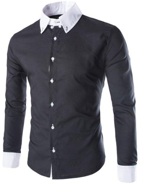 e53ed5a42bf Slimming Shirt Collar Modish Two Color Splicing Button Design Long Sleeve  Polyester Men s Shirt - BLACK