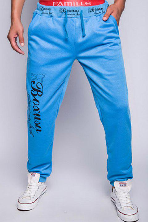 Fashion Lace-Up Loose Fit Letter Print Rib Splicing Beam Feet Polyester Jogger Pants For Men - LAKE BLUE M