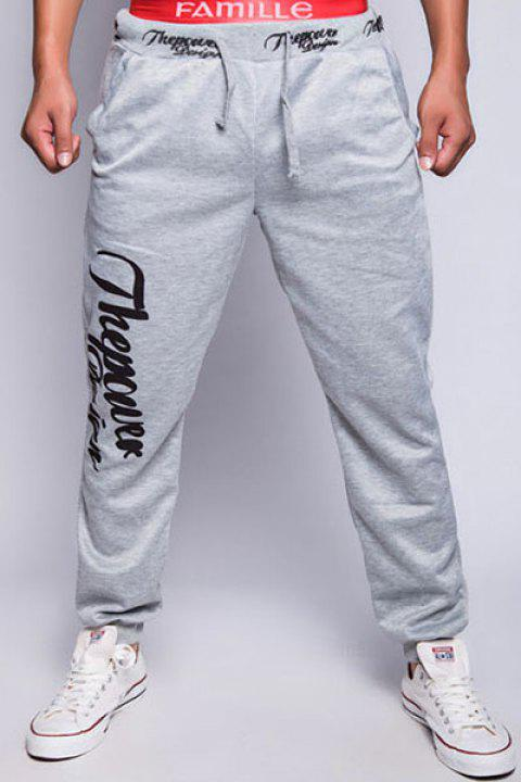 Trendy Drawstring Loose Fit Simple Letters Print Beam Feet Polyester Sweatpants For Men - LIGHT GRAY XL