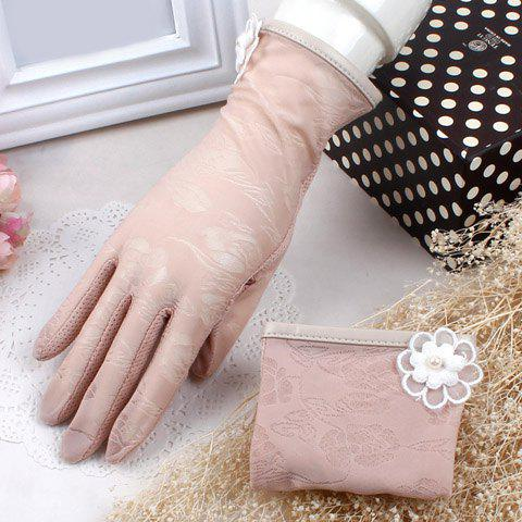 Pair of Chic Flower Embellished Covered Edge Lace Splice Women's Gloves - RANDOM COLOR