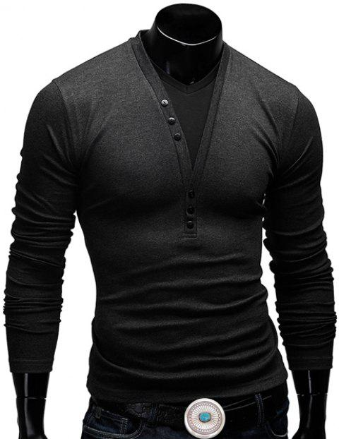 Fitted V-Neck Fashion Faux Twinset Button Design Long Sleeve Polyester Men's T-Shirt - DEEP GRAY 2XL