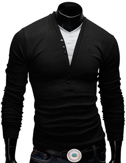 Fitted V-Neck Fashion Faux Twinset Button Design Long Sleeve Polyester Men's T-Shirt - BLACK L