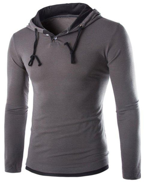 Color Block Panel Long Sleeve Polyester T-Shirt - GRAY M