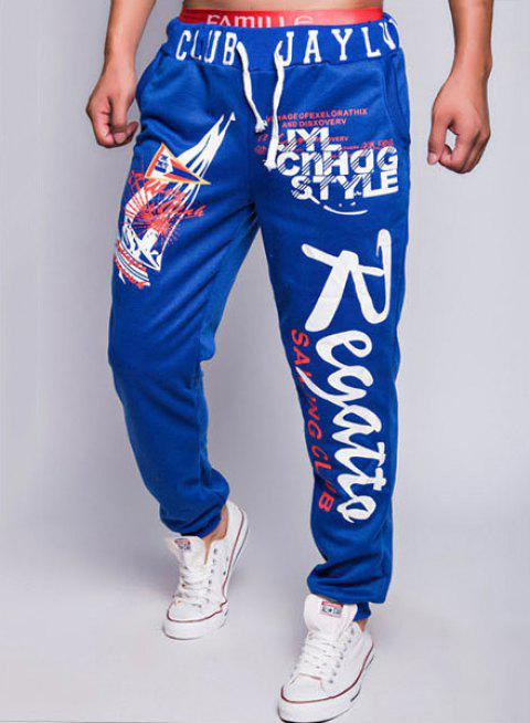 Modish Lace-Up Loose Fit Sailing Print Rib Splicing Beam Feet Polyester Sweatpants For Men - SAPPHIRE BLUE 2XL
