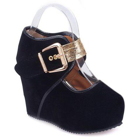 Sexy Metal and Buckle Design Wedge Shoes For Women - BLACK 39