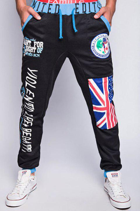 Stylish Lace-Up Loose Fit Flag and Badge Print Beam Feet Polyester Sweatpants For Men - BLACK XL