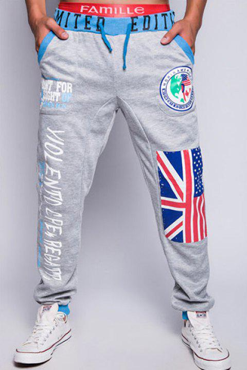 Stylish Lace-Up Loose Fit Flag and Badge Print Beam Feet Polyester Sweatpants For Men - LIGHT GRAY XL