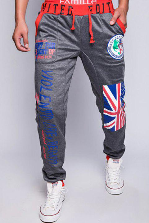 Stylish Lace-Up Loose Fit Flag and Badge Print Beam Feet Polyester Sweatpants For Men - DEEP GRAY XL