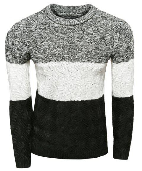 Pull col rond Minceur Modish Multicolor Splicing Kink conception manches longues polyester Hommes - Blanc M