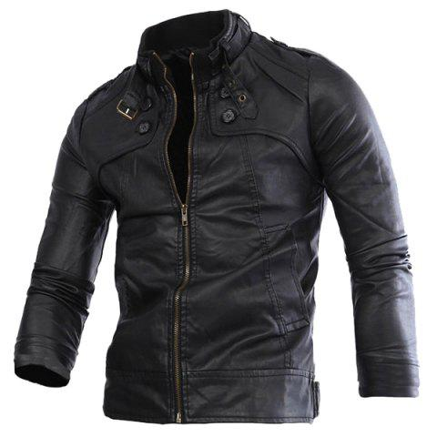 Slimming Rib Spliced Button and Epaulet Design Stand Collar Long Sleeves Men's Locomotive PU Leather Jacket - BLACK XL