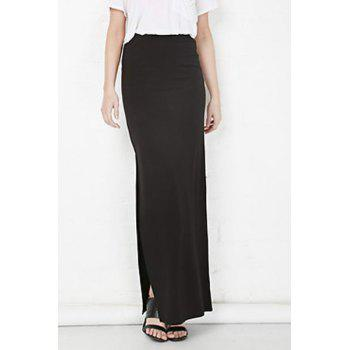 Plus Zellie Maxi Skirt With Slit - BLACK S