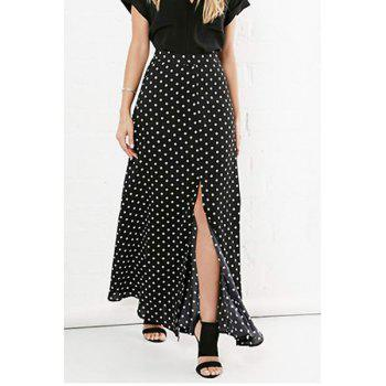 Polka Dot Maxi Skirt With Slit - S S